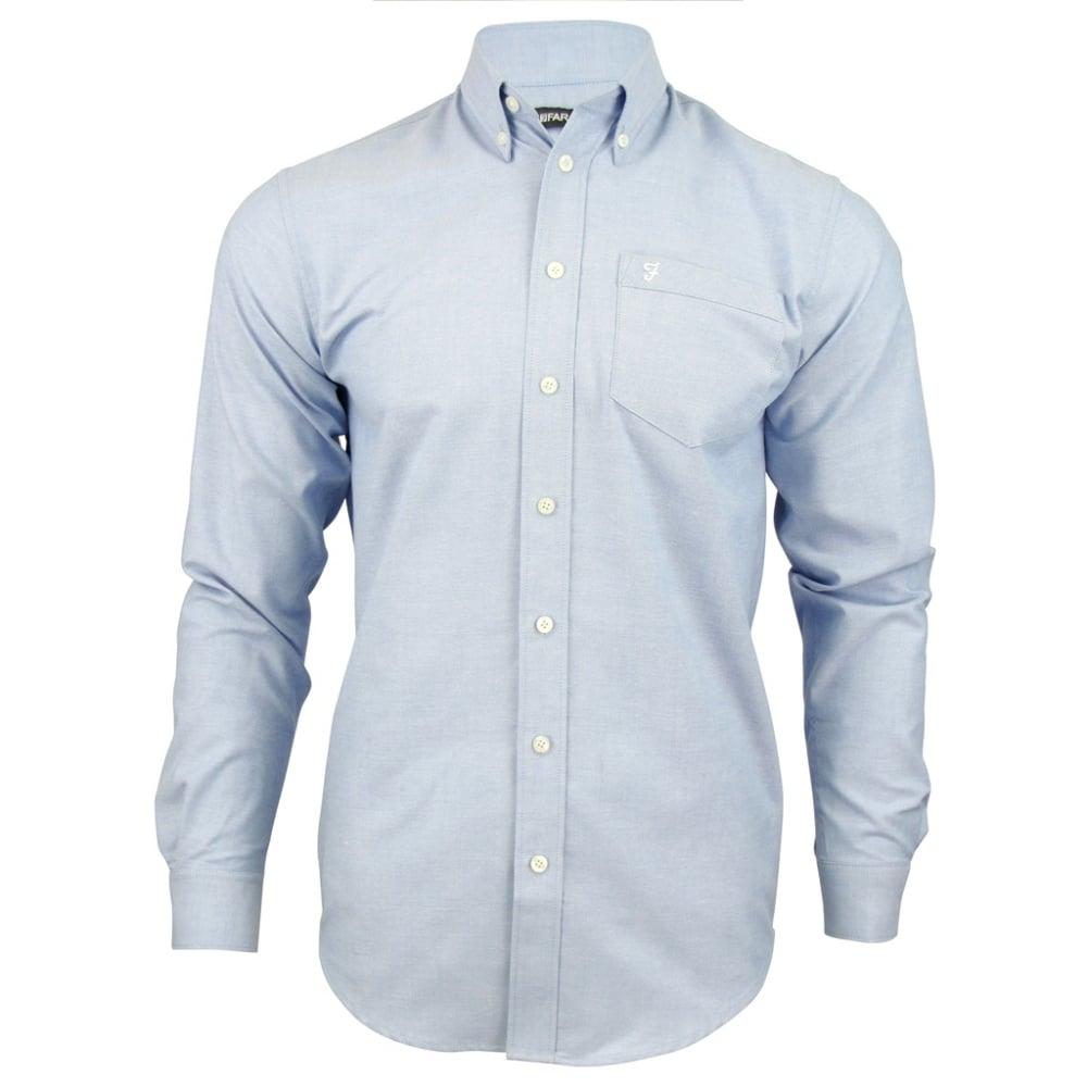 Farah mens long sleeve regular fit oxford shirt 39 the for Mens blue oxford shirt