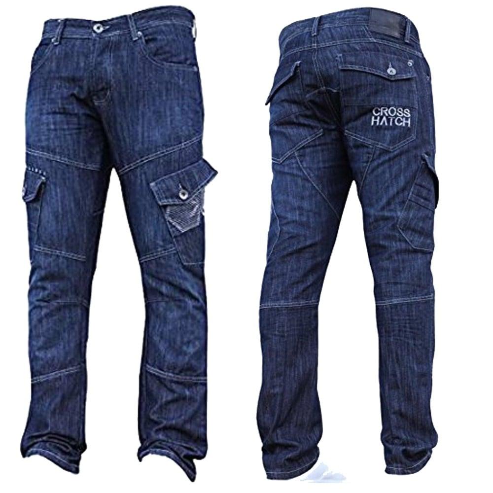 Crosshatch-Mens-Jeans-Crosshatch-New-CARGO-Combat-Dark-Washed-Straight-Leg-Jeans