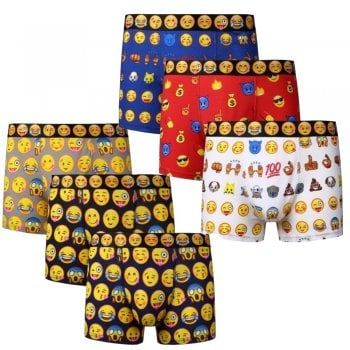 3 Men's Emoji Smiley Faces Cotton Boxer Shorts Trunks Underwear All Sizes