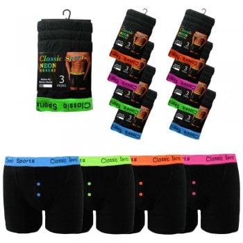 3 Pack Mens Boxers Shorts Designer Classic Sports Neon Comfort Fit Underwear Breifs