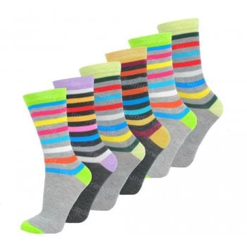 Design Socks 6 Pairs Ladies Womens Coloured Design Socks Cotton Blend Designer Adults 4-7