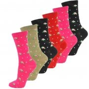 6 Pairs Ladies Womens Coloured Design Socks Cotton Blend Designer Adults 4-7