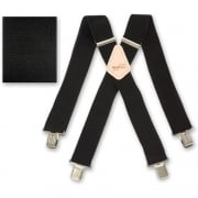 "Brimarc Mens Heavy Duty Black Braces Trouser Belt Suspender 2"" 50mm Wide"