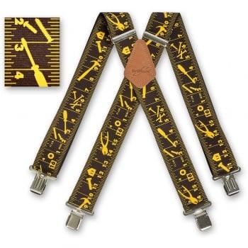 "Brimarc Mens Heavy Duty Black Tape Measure Braces Trouser Belt Suspender 2"" 50mm Wide"