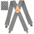 "Brimarc Mens Heavy Duty Black & White Checkered Braces Trouser Belt Suspender 2"" 50mm Wide"