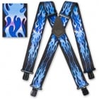 "Brimarc Mens Heavy Duty Blue Flames Braces Trouser Belt Suspender 2"" 50mm Wide"