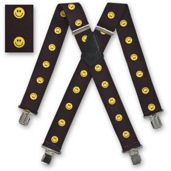 """Brimarc Mens Heavy Duty Braces Trouser Belt Suspender 2"""" 50mm Wide Smiling Faces"""