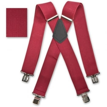 "Brimarc Mens Heavy Duty Burgundy Braces Trouser Belt Suspender 2"" 50mm Wide"