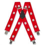 "Brimarc Mens Heavy Duty Father Xmas Braces Trouser Belt Suspender 2"" 50mm Wide Red"