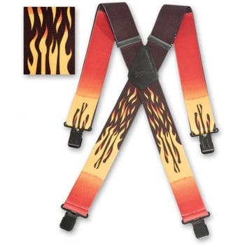 "Brimarc Mens Heavy Duty Flames Braces Trouser Belt Suspender 2"" 50mm Wide"