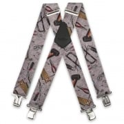 "Brimarc Mens Heavy Duty Grey Hand Tools Braces Trouser Belt Suspender 2"" 50mm Wide"