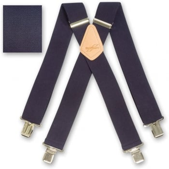 "Brimarc Mens Heavy Duty Navy Blue Braces Trouser Belt Suspender 2"" 50mm Wide"