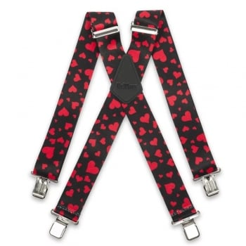 "Brimarc Mens Heavy Duty Red Love Hearts Braces Trouser Belt Suspender 2"" 50mm Wide"