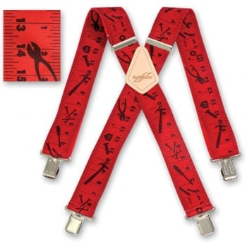 "Brimarc Mens Heavy Duty Red Tape Measure Braces Trouser Belt Suspender 2"" 50mm Wide"