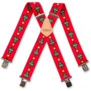 "Brimarc Mens Heavy Duty Red Xmas Trees Braces Trouser Belt Suspender 2"" 50mm Wide"