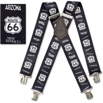 """Brimarc Mens Heavy Duty Route 66 Braces Trouser Belt Suspender 2"""" 50mm Wide"""