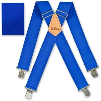 "Brimarc Mens Heavy Duty Royal Blue Braces Trouser Belt Suspender 2"" 50mm Wide"
