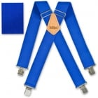 "Brimarc Mens Heavy Duty Royal Blue Braces Trouser Belt Suspender 2"" 50mm Wide"