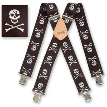 "Brimarc Mens Heavy Duty Skull & Crossbones Braces Trouser Belt Suspender 2"" 50mm Wide"