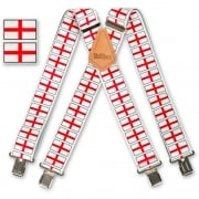 "Brimarc Mens Heavy Duty St Georges Flag Braces Trouser Belt Suspender 2"" 50mm Wide"