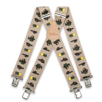"Brimarc Mens Heavy Duty Tractor Beige Braces Trouser Belt Suspender 2"" 50mm Wide"