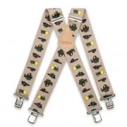 "Brimarc Mens Heavy Duty Tractor Beige Braces Trouser Belt Suspender 2"" 50mm Wide"