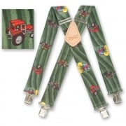 "Brimarc Mens Heavy Duty Tractor Green Fields Braces Trouser Belt Suspender 2"" 50mm Wide"