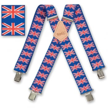 "Brimarc Mens Heavy Duty Union Jack Braces Trouser Belt Suspender 2"" 50mm Wide"