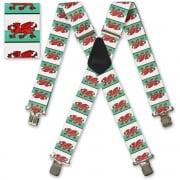 "Brimarc Mens Heavy Duty Welsh Flag Braces Trouser Belt Suspender 2"" 50mm Wide"