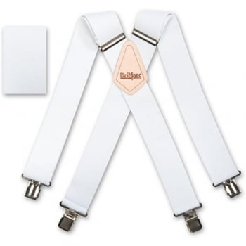 "Brimarc Mens Heavy Duty White Braces Trouser Belt Suspender 2"" 50mm Wide"