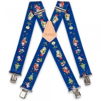 "Brimarc Mens Heavy Duty Xmas Santa Blue Braces Trouser Belt Suspender 2"" 50mm Wide"