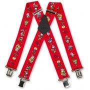 "Brimarc Mens Heavy Duty Xmas Santa Red Braces Trouser Belt Suspender 2"" 50mm Wide"