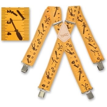 "Brimarc Mens Heavy Duty Yellow Tape Measure Braces Trouser Belt Suspender 2"" 50mm Wide"