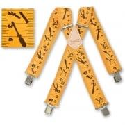 "Brimarc Mens Heavy Duty Yellow Tape Measure Braces Trouser Belt Suspender 2"" 50mm Wide"