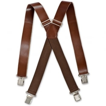 Brimarc Mens Real Leather Chocolate Brown Braces Trouser Belt Suspender 35mm Wide