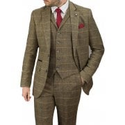 Cavani Albert 3 Piece Suits Check Tweed Regular Fit Blazer Brown Check