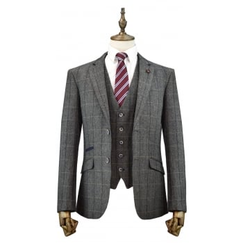 Cavani Albert 3 Piece Suits Check Tweed Regular Fit Blazer Grey Check
