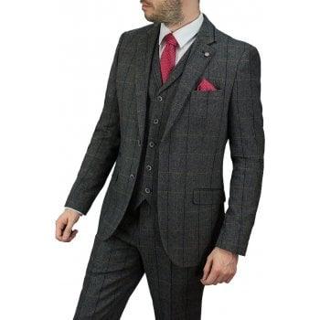 Cavani Albert 3 Piece Suits Check Tweed Regular Fit Blazer Grey Check