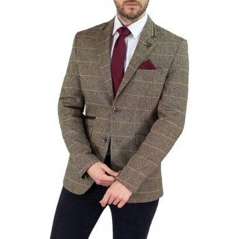 Cavani Albert Mens New Tweed Slim Fit Blazer Brown Check