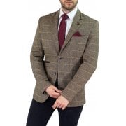 Cavani Albert Mens New Tweed Slim Fit Blazer Brown Check