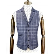 Cavani Bonera Mens New Check Formal Waistcoat Blue