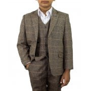 Cavani Boys Albert 3 Piece Suits Check Tweed Regular Fit Blazer Brown Check