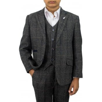 Cavani Boys Albert 3 Piece Suits Check Tweed Regular Fit Blazer Grey Check