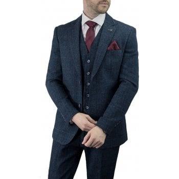Cavani Carnegi 3 Piece Suits Check Tweed Regular Fit Blazer Navy Check