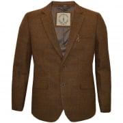Cavani Designer Argyle Large Size Herringbone Tweed Check Blazer Brown