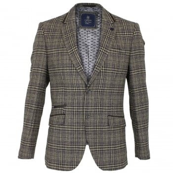 Cavani Walter Mens Check Herringbone Tweed Regular Fit Blazer Brown