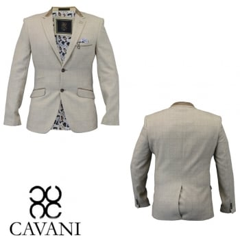 Cavani Check Herringbone Tweed Slim Fit Blazer Beige
