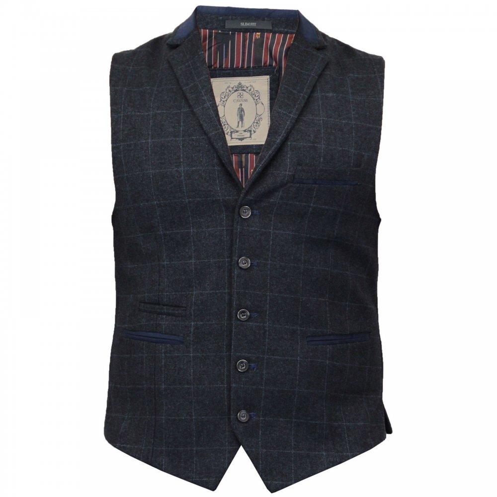 Cavani Mens Check Herringbone Tweed Vintage Smart Casual Draco Waistcoat Navy