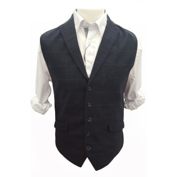 Cavani Crespo Mens New Ryan Mens Check Waistcoat Navy