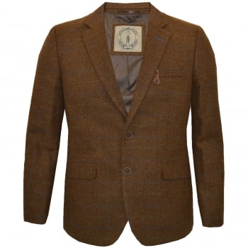 Cavani Designer Argyle Large Size Herringbone Tweed Check Blazer Brown